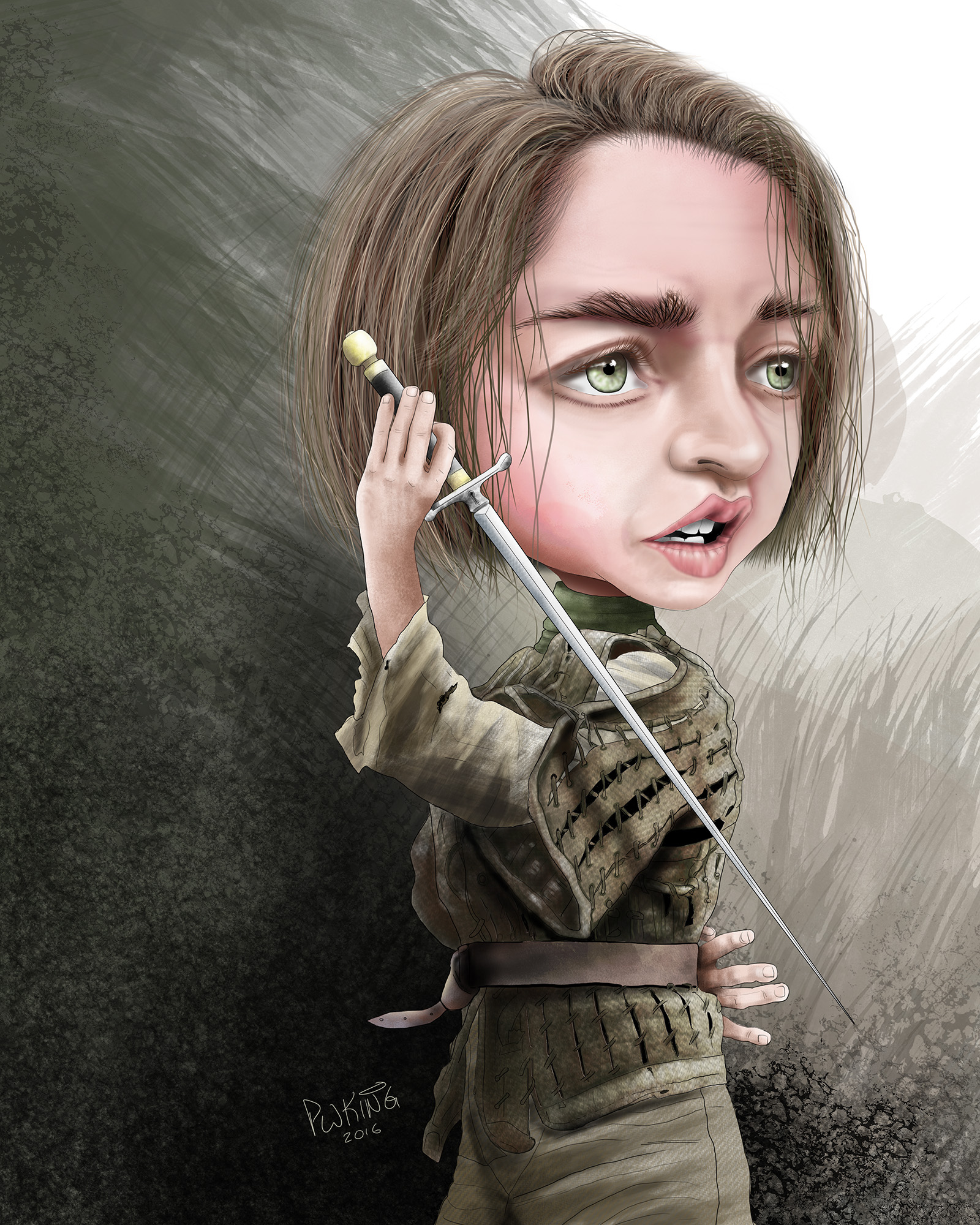 Arya Stark Caricature Paul King Artwerks